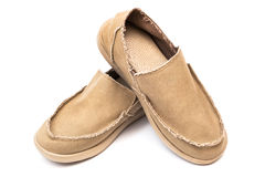 Textile new moccasins Stock Images