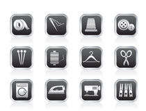 Textile objects and industry icons Royalty Free Stock Photo