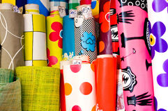 Textile and oilcloth rolls Royalty Free Stock Image