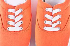 Textile orange vans close up. Stock Photos