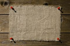 Textile Patch On Wooden Wall Stock Image