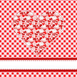 Textile patchwork heart over tablecloth Stock Photo