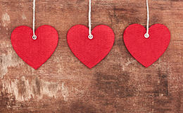 Textile pendent hearts Royalty Free Stock Photo