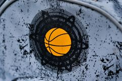 Textile print of basket ball. On gray texture bag for school Royalty Free Stock Images