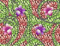 Beautiful background design with flowers. Textile print design Stock Photo