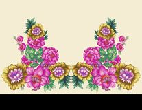 Textile Print Mughal Flower Illustration and Plant vintage manual artwork Digitally enhanced. With Adobe Photoshop CC+ 2019 stock illustration