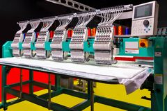 Textile - Professional and industrial embroidery machine. Machin Stock Photos