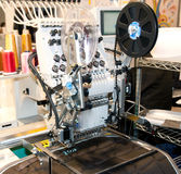 Textile - Professional and industrial embroidery machine Royalty Free Stock Photos