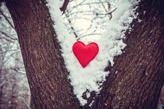 Textile red heart Stock Photos