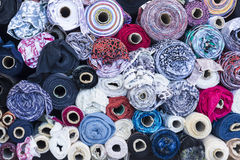 Textile rolls in the Fabric Shop Royalty Free Stock Image