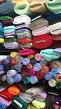 Textile rolls in shop Stock Photos