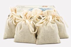 Textile sachet pouches Royalty Free Stock Photo