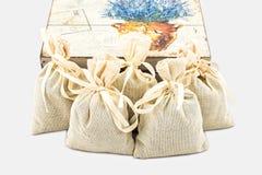 Textile sachet pouches Royalty Free Stock Image