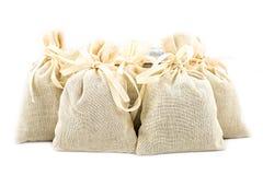 Textile sachet pouches Stock Photo