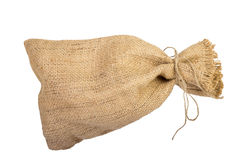 Textile sack with empty space Royalty Free Stock Photo