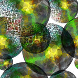 Textile seamless pattern of ball with green texture triangles Royalty Free Stock Photo