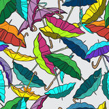 Textile seamless pattern of colorful umbrellas.  Royalty Free Stock Photo