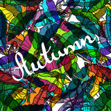 Textile seamless pattern of colorful umbrellas autumn.  Stock Images