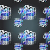 Textile seamless pattern of cubes with white texture triangles Royalty Free Stock Image