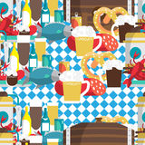 Textile seamless pattern flat cartoon style for Oktoberfest. Food, drink, beer, mug, cancer, dried fish, sausage Royalty Free Stock Photography