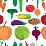 Textile seamless pattern flat cartoon vegetables. Stock Images