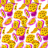 Textile seamless pattern of flowers with texture yellow watercol Stock Photography