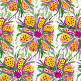 Textile seamless pattern of flowers with texture yellow watercol Stock Image