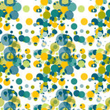 Textile seamless pattern of green circles in random Royalty Free Stock Images