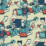 Textile seamless pattern with people chattering on the Internet Stock Images
