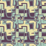 Textile seamless pattern of squares and lines chocolate color Stock Photo