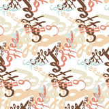 Textile seamless pattern of word coffee labels Royalty Free Stock Photography