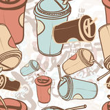 Textile seamless pattern of word coffee labels Royalty Free Stock Photo