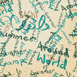 Textile seamless pattern of words on the subject of travel Stock Photography