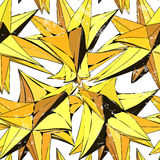 Textile seamless pattern of yellow triangles in warm colors Stock Photo