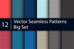Textile seamless patterns, big vector set, 12 Royalty Free Stock Photography