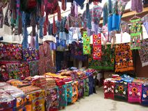 Textile Souvenir Store in Zinacantan royalty free stock images