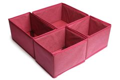 Textile storage boxes stock photo