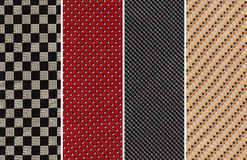 Textile Swatches. Details of Four Cotton Textile Swatches with Patterns royalty free stock photo