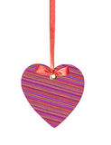 Textile Tag Label Heart with ribbon bow isolated Stock Images