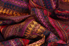 Textile texture. Colorful ethnic textile close up Royalty Free Stock Photos
