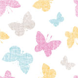 Textile textured colorful butterflies seamless Stock Images