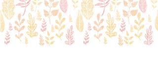 Textile textured fall leaves horizontal seamless Stock Photos