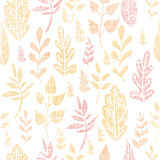 Textile textured fall leaves seamless pattern Royalty Free Stock Photos