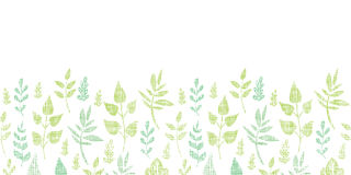 Textile textured spring leaves horizontal border Stock Photography