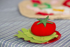 Textile toy tomato with leaves Royalty Free Stock Images