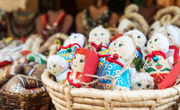 Textile traditional dolls as souvernirs at the fair Royalty Free Stock Photo