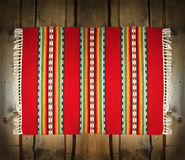 Textile Traditional Mat On Wood Backdrop Stock Photo