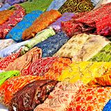 Textile in tunisian market Royalty Free Stock Photos