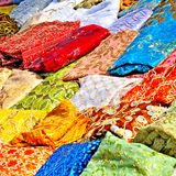 Textile in tunisian market Stock Images