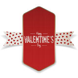 Textile Valentines Day red Banner and white Ribbon Stock Photos